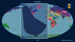 Stock Video Footage of Barbados - 3D tube zoom (Mollweide projection). Administrative