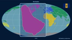 Barbados - 3D tube zoom (Mollweide projection). Continents - stock footage