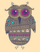 original  ethnic owl ink drawing, vector illustration - stock illustration