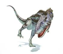 Majungasaurus dinosaur, photorealistic representation. Dynamic view. - stock illustration