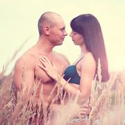 Young and beautiful couple in love outdoors Stock Photos