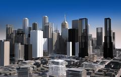 Modern cityscape in daylight. Close up view. Stock Illustration