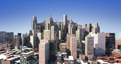 Modern cityscape in daylight, but with also artificial lights on - stock illustration