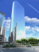 3D rendering of a generic Modern Skyscraper viewed from below. Stock Illustration