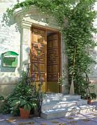 Classic house front door with stairs. - stock illustration