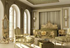Luxury rococo bedroom Stock Illustration