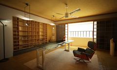 Office interior. Modern oriental stylish. Stock Illustration