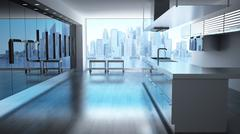 Modern High tech kitchen with view on skyscrapers cityscape. Stock Illustration