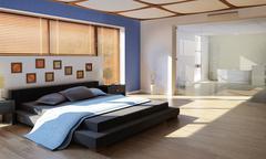 Modern luxury bedroom with bathroom Stock Illustration