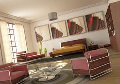 Open space modern bedroom livingroom. Stock Illustration