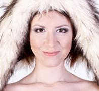 Beautiful girl dog hat, smiling happy, joke winter naked woman with gentle make - stock photo