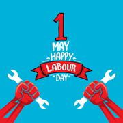 1 may - labour day. vector labour day poster - stock illustration