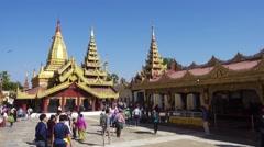 Shwezigon Pagoda (Paya) in Bagan, Myanmar Stock Footage