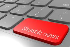 Showbiz news word on red keyboard button - stock illustration