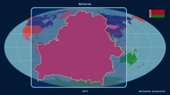 Stock Video Footage of Belarus - 3D tube zoom (Mollweide projection). Administrative