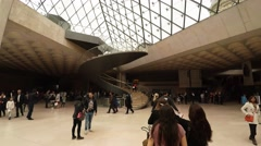 The entrance hall of the Louvre Museum in Paris. France. 4K. Stock Footage