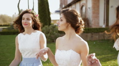 Bride with bridesmaids - stock footage
