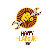 vector happy labour day poster - stock illustration