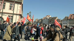 Rue du Vieux Marche aux Poisson closed as hundreds demonstrate Stock Footage