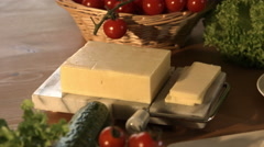Kitchen Counter Scattered With Fresh Cheese And Salad 4K Stock Footage