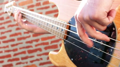 Bass Guitar Player Close Up With Sunny Background Stock Footage