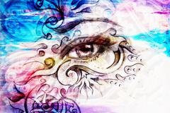 woman eye with ornament, pencil drawing, eye contact. Color effect and Computer - stock illustration