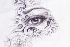 Woman eye with ornament, pencil drawing, eye contact Stock Illustration