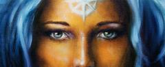 mystic face women, with white tattoo. eye contact - stock illustration