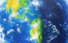 Planet earth. Original painting on canvas. American continent Stock Illustration