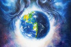 Planet earth in cosmic space  surrounded by  blue woman hair, Cosmic Space Piirros