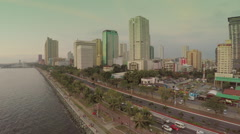 Aerial view of Manila Bay and Roxas Boulevard Stock Footage