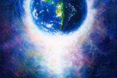 Planet earth in light, Cosmic Space background. Original painting on canvas Stock Illustration