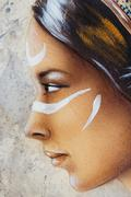 Woman face and white tattoo, airbrush painting on paper, profile portrait Stock Illustration