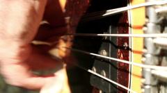 Bass Guitar Player Strings Vibrating Close Up Stock Footage