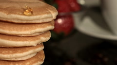 Close Up Homemade Pancakes being Drizzled In Syrup Stock Footage
