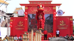 Dragon dance during the celebration Chinese New Year . Bangkok, Thailand Stock Footage