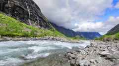 Stigfossen waterfall and river, Romsdal, Norway Stock Footage