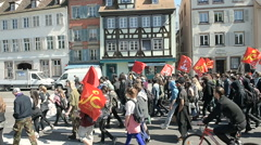 People protesting in center of Strasbourg Stock Footage