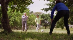 12-Happy Family Grandma Grandpa And Boy Playing Football Stock Footage