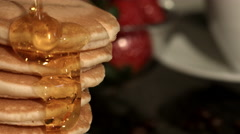 Close Up Homemade Pancakes being Drizzled In Syrup 4K Stock Footage