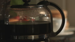 Fresh Breakfast Coffee Being Poured In Kitchen Stock Footage