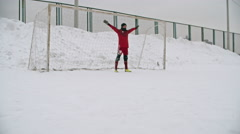 Winter Soccer Penalty Save - stock footage