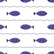 Seamless nautical pattern with fish - stock illustration