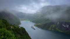 Panoramic view Geiranger fjord, Norway Stock Footage