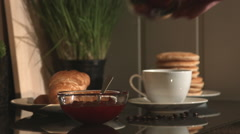 Healthy Homemade Breakfast On Kitchen Counter Stock Footage