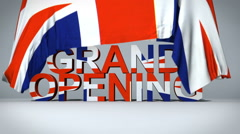 British flag raises to reveal Grand Opening text Stock Footage