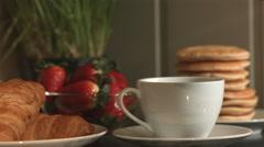 Fresh Breakfast Coffee Being Poured In Kitchen 4K Stock Footage