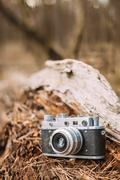 Old Vintage Small-Format Rangefinder Camera, 1950-1960s - stock photo