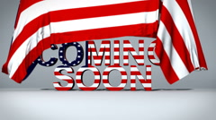 USA flag lifts to reveal Coming Soon text Stock Footage
