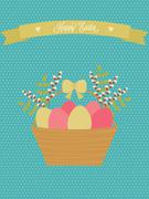 Vector Easter card. Easter basket with eggs, willow, green branches Stock Illustration